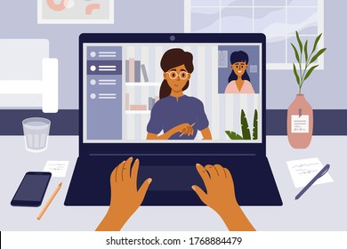 Job interview remotely by video call using laptop. Online employment. Hiring and recruitment concept. Communication technology. Young woman searching job. Work place, home office vector illustration.