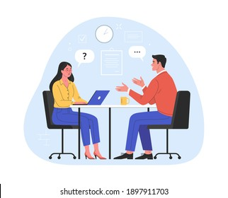 Job interview. Vector flat modern illustration of a man talking to a young woman with laptop. Isolated on background