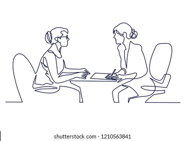 Job interview - vector modern simple one line design composition with recruiter and candidate. Continuous Line Drawing of Two women are talking at the table