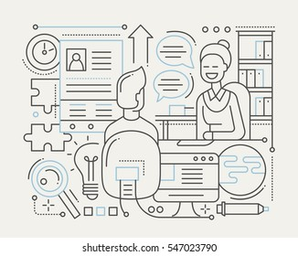 Job interview - vector modern simple line flat design city composition with recruiter and candidate. Human Resources