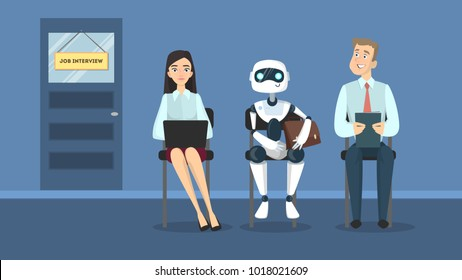 Job intrerview queue with rea people and robot.