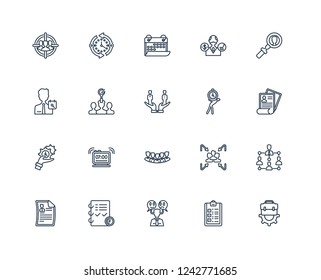 Job, List, Emotions, Planning, Resume, Searching, Time pressure, Staff, management, Recruitment, Date outline vector icons from 20 set