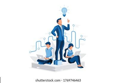 Jobmanager bei der Suche nach Rekrutierung, Personaleinstellung, Ressourcensuche nach einem neuen Manager - der beste Job. Ihr Kandidat für menschliche Angestellte. Isometrischer Mensch-Vektorbegriff