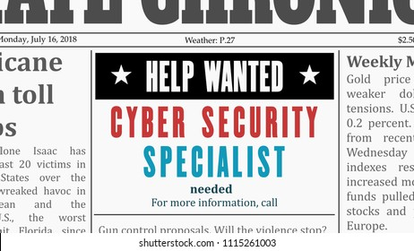 Job offer - cyber security specialist. IT career newspaper classified ad in fake generic newspaper.