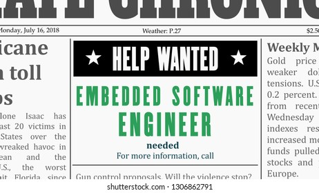 Job offer - embedded software engineer. IT career newspaper classified ad in fake generic newspaper.