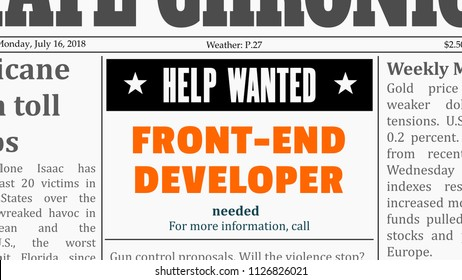Job offer - front-end developer. IT career newspaper classified ad in fake generic newspaper.