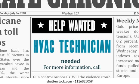 Job offer - HVAC technician. Newspaper classified ad in fake generic newspaper.