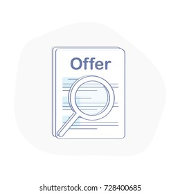 Job offer icon concept, Search for Job, Recruitment, Search better candidate for open position. We are hiring, hr vector concept. Flat modern outline icon illustration. Business template.