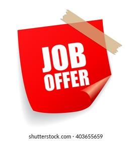 Job offer sticker vector illustration isolated on white background