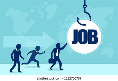 Job on a hook. Vector of business people running to get a job on the fish hook. Deception in corporate company concept.