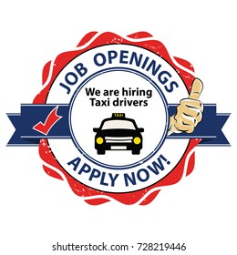 Job openings - we are hiring taxi drivers. Apply now. Red and blue printable sticker designed for recruitment purposes