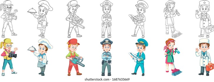 Job people. Cartoon clipart set for kids activity coloring book, t shirt print, icon, logo, label, patch or sticker. Vector illustration.