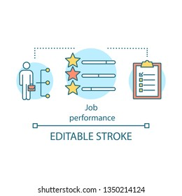 Job performance concept icon. Good work idea thin line illustration. Human resources management. Organizational outcomes criteria. Rating and success. Vector isolated outline drawing. Editable stroke