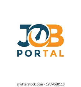 Job portal lettering logo design template. Concept of professional employee recruitment agency logo vector