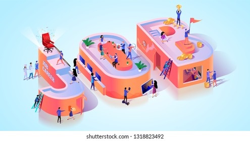 Job Position Recruit Interview Typography Banner. Business Talent Search Work Opportunity in Hr Company. Vacant Position for Online Employee Potential Staff Motivation Isometric 3d Vector Illustration