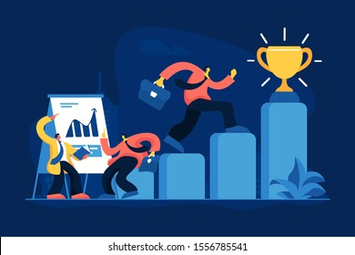 Job promotion flat vector illustration. Business trainer, career progress, self improvement concept. Leader getting golden trophy cartoon character. Personal development and management coach