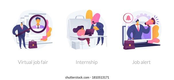 Job proposal abstract concept vector illustration set. Virtual job fair, internship, job alert, online hiring, human resources service, professional growth, career building abstract metaphor.