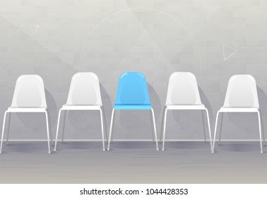 Job recruiting concept banner. Vacant chairs near office wall. One of them has blue color represent the hiring position to be recruited and filled. Vector illustration