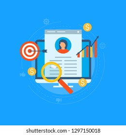Job recruitment, job candidate evaluation flat vector illustration. Job candidate CV assessment, interviewing, selection, recruiting. Design for web banners and apps