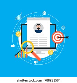 Job recruitment, job candidate evaluation flat vector illustration.   CV assessment, interviewing, selection, recruiting. Design for web banners and apps
