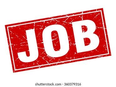 job red square grunge stamp on white