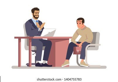 Job rejection flat vector illustration. Employer rejecting vacancy candidate, applicant isolated cartoon character on white background. Interview failure. Sad, depressed jobseeker, fired employee