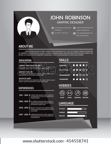 Job Resume Cv Black White Design Stock Vector Royalty Free