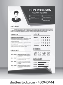 Job resume or CV template layout template in A4 size. vector illustration