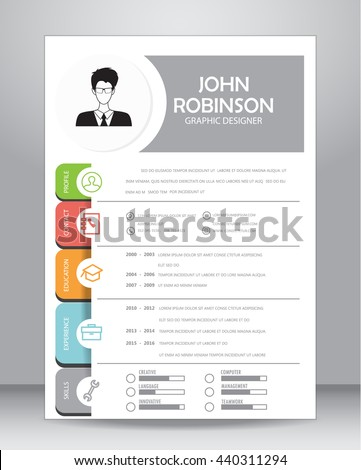 job resume cv template layout template のベクター画像素材