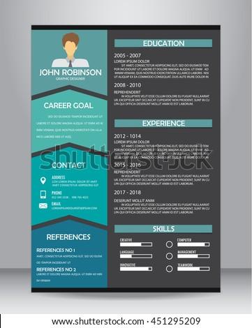 Job Resume Cv Template Layout Template Stock Vector Royalty Free
