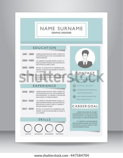 Job Resume Cv Template Layout Stock Vektorgrafik