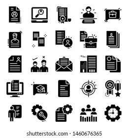 Job  Resume Glyph Vector Icons Pack