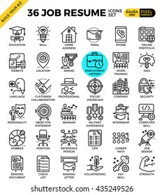 Job Resume outline icons modern style for website or print illustration