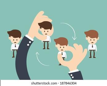 Job Rotation concept, Business hand  hold  businessman Job rotation