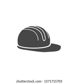 Job safety equipment helmet or hat for industrial safety black and white icon vector. Security for industry or construction uniform concept icon vector illustration isolated on white icon vector