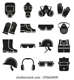 Job safety equipment icons set with helmet, glove and glasses protection mask for industry. Vector illustration