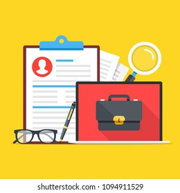 Job search, career opportunity. Clipboard with CV, application form, magnifying glass, pen, glasses and laptop with briefcase on screen. Modern concept. Flat design. Vector illustration
