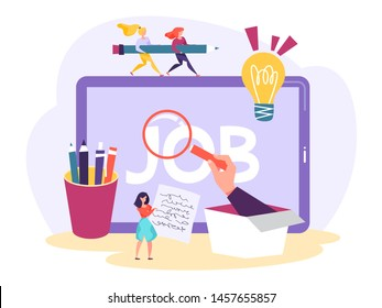 Job search concept. Idea of employment and recruitment. Person with qualification looking for job. Interview with HR. Vector illustration in cartoon style