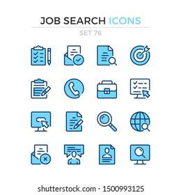 Icons für die Jobsuche. Vektorliniensymbole gesetzt. Premium-Qualität. Einfaches Thin-Line-Design. Moderne Umrisssymbole Sammlung, Piktogramme.