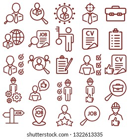 job search - minimal thin line web icon set. simple vector illustration outline. concept for infographic, website or app.