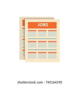 Job Search on Newspaper. Flat vector illustration.