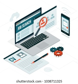 Job search platform, recruitment and employment on laptop and smartphone: career and technology concept