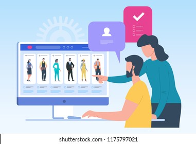 Job search. Recruitment. Head Hunting in social network. Employees looking for job. Flat vector illustration