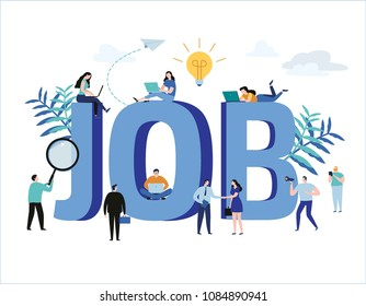 Job search, recruitment, hiring, jobs, career vector illustration web graphics design