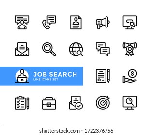 Job search vector line icons. Simple set of outline symbols, graphic design elements. Line icons