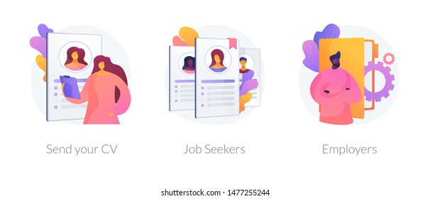 Job searching. Employment service, recruitment agency. Resume writing, finding work. Vacant position. Send your CV, job seekers, employers metaphors. Vector isolated concept metaphor illustrations