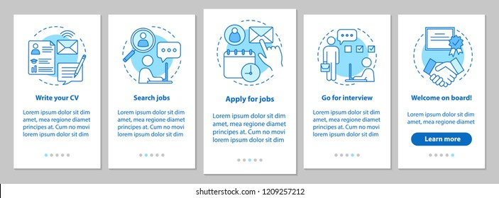 Job searching onboarding mobile app page screen with linear concepts. Write CV, apply job, interview, getting work steps graphic instructions. UX, UI, GUI vector template with illustrations