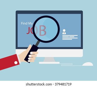 Job Searching, Seeking with Magnifying Glass Online Concept Vector Illustration