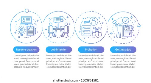 Job searching vector infographic template. Resume creation, job interview, probation. Data visualization with four steps and options. Process timeline chart. Workflow layout with icons