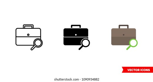 Job seeker icon of 3 types: color, black and white, outline. Isolated vector sign symbol.